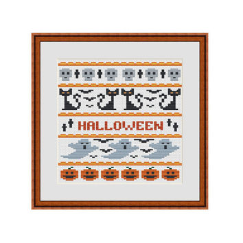 Cross stitch pattern, Cross stitch pillow, Needlepoint pattern, Halloween, Skull, Ghost, Pumpkin, Black cat, Jack o lantern, Spooky art, PDF