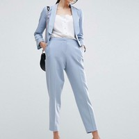 ASOS Tailored Crepe Suit with Collar Detail in Ice Blue at asos.com