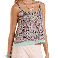 Cross-Back Floral Print Tank Top by Charlotte Russe