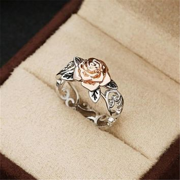 Hot sale rose gold plated flower ring female retro silver plated color separation ring hand jewelry