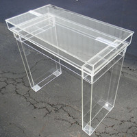 "Lucite Desk / Cosmetic table - Fully clear ""Ghost"" table with hinge top for internal storage."