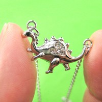 Adorable Dinosaur Animal Pendant Necklace in Silver with Heart Detail | DOTOLY
