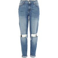 River Island Womens Mid wash ripped knee Ashley boyfriend jeans