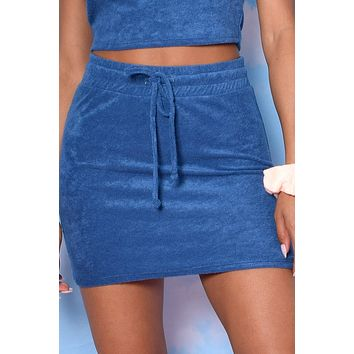 Life Of Leisure LUX Terry Drawstring Skirt - Navy