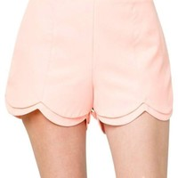 Layered Scalloped Shorts