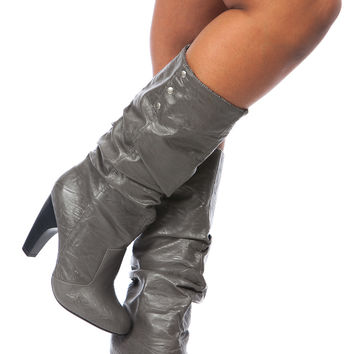 Grey Faux Leather Winter Love Calf Length Boots