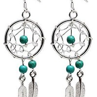Hand made Silver Dream catcher Earrings or Pendant with genuine turquoise stones. Beautifully designed and hand finished to a very high jewelry standard. Packed in a lovely velvet pouchette