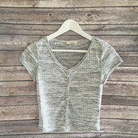 Brandy Ribbed Crop Tee (Gray)