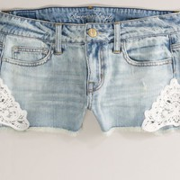 AEO 's Crochet Denim Shortie (Faded Light)