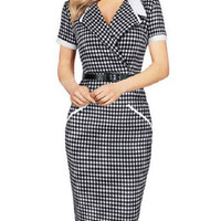 Fashion Black and White Plaid Turndown Collar Short Sleeve Midi Pencil Office Dress with Detachable Bow Tie