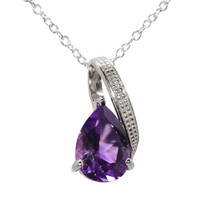 """925 Silver 2ct Amethyst & Diamond Necklace 18"""" chain"""