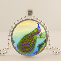 "Waterfall Peacock bird, 1"" glass and metal Pendant necklace Jewelry."