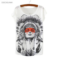 2016 Brand New kawaii t Shirt Women Crew Neck Tops Short Sleeve Indian Girls Print T-Shirt Fashion Summer Tees For Ladies