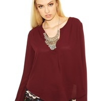 West Coast Wardrobe  Pleat Treat Long Sleeve Shirt in Wine