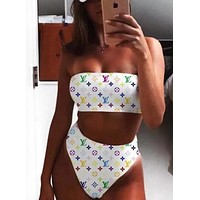 LV Louis vuitton selling fashionable women's classic printed letter three-piece bikinis