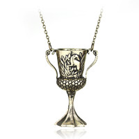 Fashion Jewelry H P Helga Hufflepuff Cup Horcrux Alloy Pendant Choker Necklace For Men Souvenir Gift