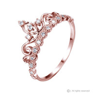 Dainty Rose Gold-plated 925 Sterling Silver Crown Ring / Princess Ring - AZDBR5456RG-DN