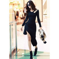 Black Asymmetrical Cut-Out Dress