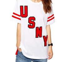 White USNY Print Loose T-Shirt