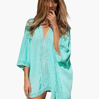 Light Sky Blue V-Neck with Lace Accent Tunic Kimono Mini Dress