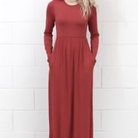 Long Sleeve Solid Maxi Dress w/ Pockets {Marsala}