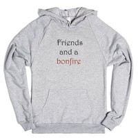Friends and a bonfire-Unisex Heather Grey Hoodie