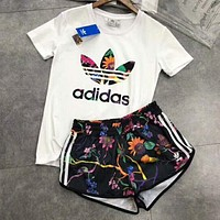 Adidas Summer Popular Women Casual Short Sleeve Running Sport Gym Set Two-Piece Sportswear I-YF-MLBKS