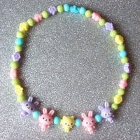 Pastel Sugar - Animal Friends and Rainbow Beads Stretch Choker from On Secret Wings
