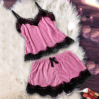 Sexy Velvet Shorts Pajamas Set Summer Women's Lace Sleepwear Spaghetti Strap Sleeveless Pyjama Casual Nightwear Home Clothes 3XL