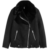 Imitation suede biker jacket - Black - Ladies | H&M GB