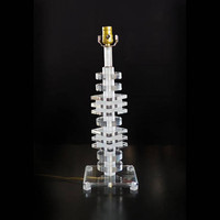 Vintage Stacked Lucite Table Lamp in the Style of Karl Springer