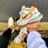 Nike Air Max 270 React Fashionable Women Men Sport Running Shoes Sneakers Khaki