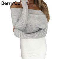 BerryGo Off shoulder elastic winter sweater women Sexy lapel pullover  Autumn bodycon pull femme basic jumpers knitwear crop top