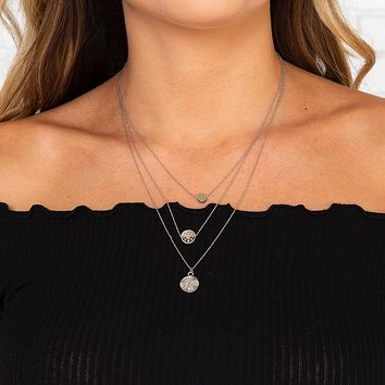 Silver Dubloon Layered Necklace