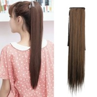 Vktech Long Lady Girl Straight Ponytail Wigs Pony Hair Hairpiece Extension (Light Brown)