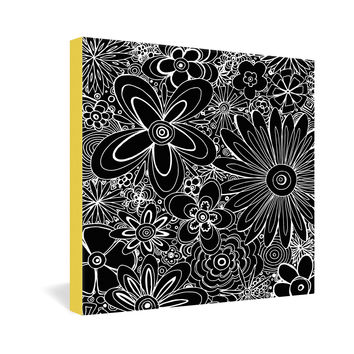 Madart Inc. All Over Flowers Black 1 Gallery Wrapped Canvas