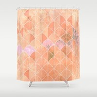 Mermaid scales. Peach and pink watercolors. Shower Curtain by VanessaGF