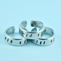 big sis/mid sis/ lil sis  -  Hand Stamped Rings Set, Handwritten Font, Shiny Aluminum, Forever Love, Friendship, BFF