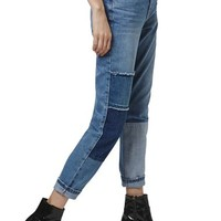 Topshop Patchwork High Rise Mom Jeans | Nordstrom