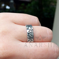 Oxidized Scream silver ring, scary ring, art ring, engraved ring, gothic promise ring, gothic wedding band, gothic jewelry, goth jewelry
