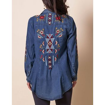 Carly Embroidered Denim Shirt