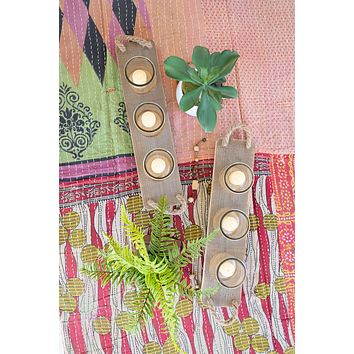 Set Of 6 Glass Candle Holders On A Recycled Wooden Base
