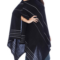 Navy Blue Stripe Fall Fashion Knitted Poncho Cape