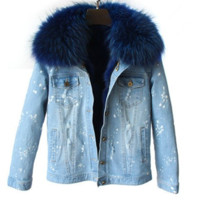 Shae Distressed Denim Fur Jacket Blue