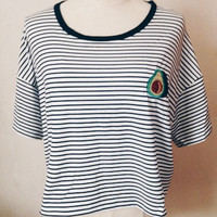 Avocado Stripe Ringer Tee