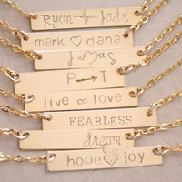 Personalized Bar Necklace , NamePlate Necklace ,  Bar Necklace ,  Nameplate Bar Necklace - New Mom Necklace - Couple's Necklace - Gift