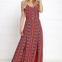 Art and Craft Red Print Maxi Dress