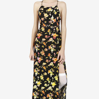 Sia Strappy Maxi Dress in Floral Fever Plum By Motel