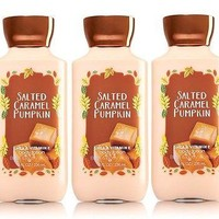 3 PACK Bath & Body Works SALTED CARAMEL PUMPKIN Body Lotion 8 oz