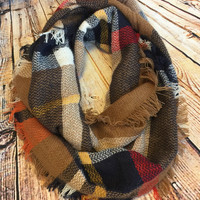 Chilly Thoughts Mocha Multi Print Scarf